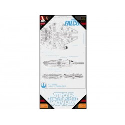 Poster en Verre Star Wars Episode 7 - Millenium Falcon Blueprint 50x25cm