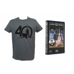 T-Shirt Star Wars - Logo 40Th Anniversary boite VHS Gris Homme Taille L